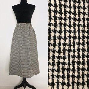 Vintage Black & White Hounstooth High Waist Skirt